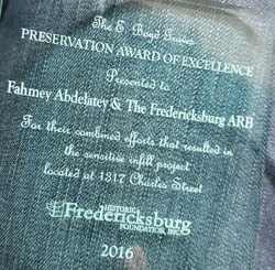 Historic Fredericksburg Foundation award